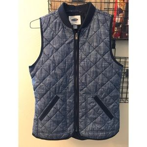Old Navy Blue Chambray quilted Down Puffer Vest S